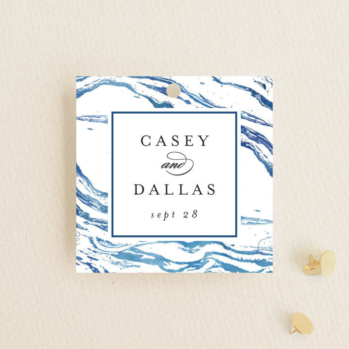 """Shimmering Waves"" - Wedding Favor Tags in Cobalt by Kelly Schmidt."