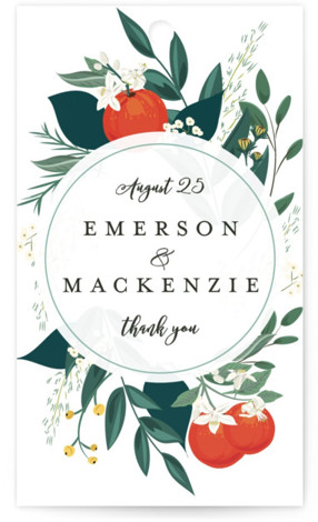 This is a orange, green, white Wedding Favor Tags by Susan Moyal called Orange Blossoms with Standard printing on Signature in Tag Flat Card format. Add the perfect finishing touch to all of your wedding gifts with these chic and ...