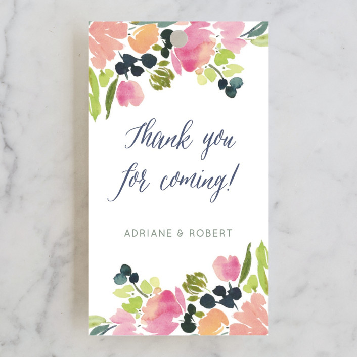 """""""Watercolor Wreath"""" - Floral & Botanical Wedding Favor Tags in Grapefruit by Yao Cheng Design."""