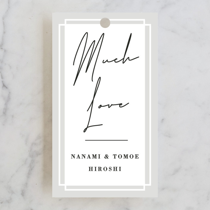 """Modern Vows"" - Wedding Favor Tags in Linen by Jennifer Lew."