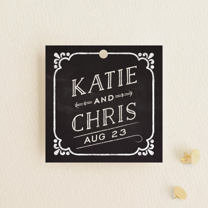 """""""Slated Forever"""" - Bold typographic, Vintage Wedding Favor Tags in Chalkboard by GeekInk Design."""