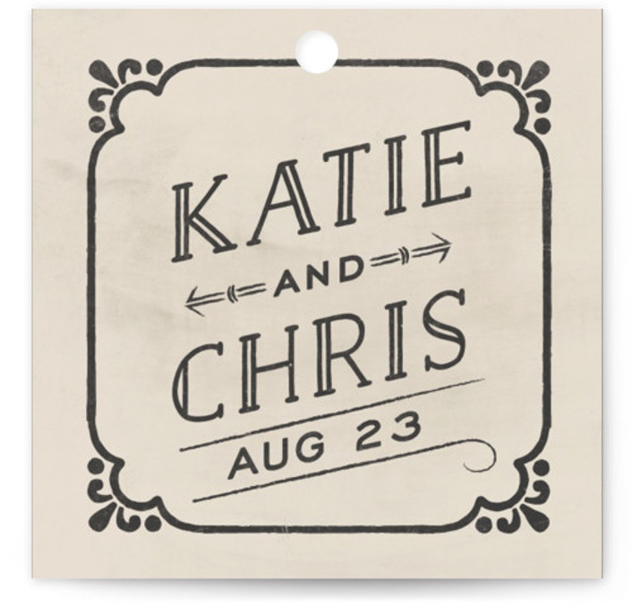 This is a square bold typographic, vintage, beige Wedding Favor Tags by GeekInk Design called Slated Forever with Standard printing on Signature in Tag Flat Card format. Add the perfect finishing touch to all of your wedding gifts with these ...