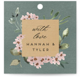 This is a green wedding favor tag by Petra Kern called Falling In Love with standard printing on signature in tag.