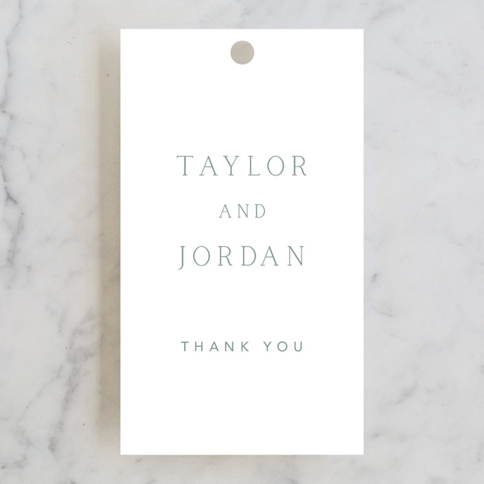 """""""Svelte"""" - Wedding Favor Tags in Ivory by Fig and Cotton."""