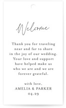 This is a black wedding favor tag by Jennifer Postorino called Handwritten with standard printing on signature in tag.