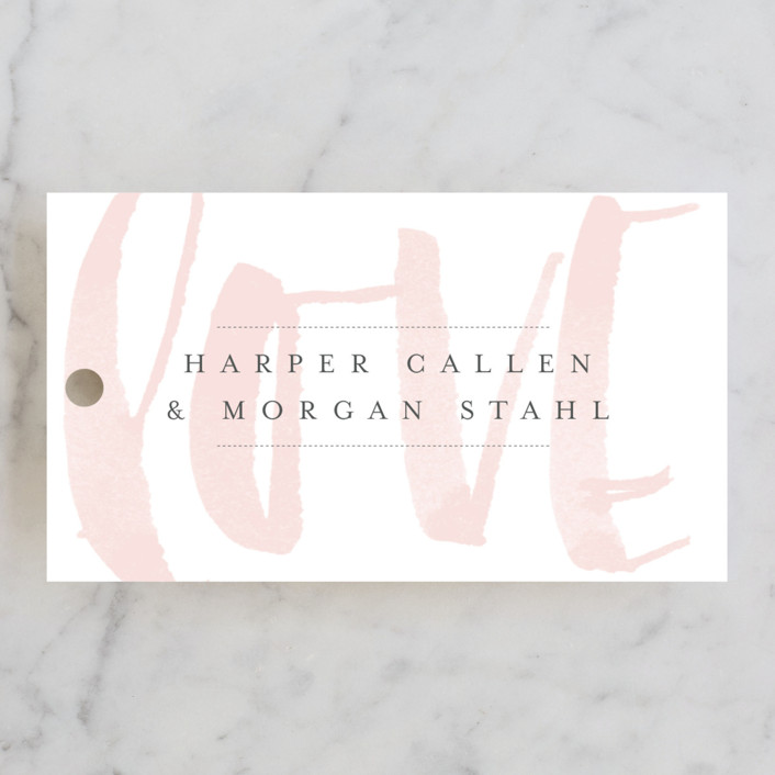 """""""Bare Love"""" - Simple, Modern Wedding Favor Tags in Blush by Sara Hicks Malone."""