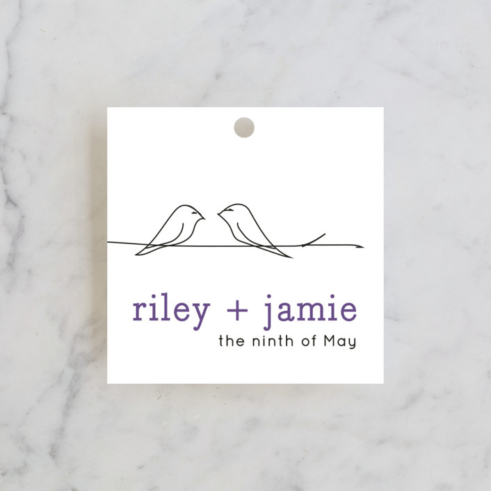 """Birds of a Feather"" - Whimsical & Funny Wedding Favor Tags in Plum by R studio."