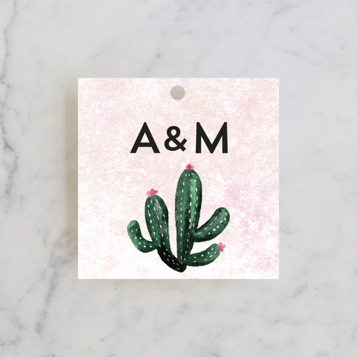 """Cacti"" - Destination Wedding Favor Tags in Rose Crystal by Cass Loh."