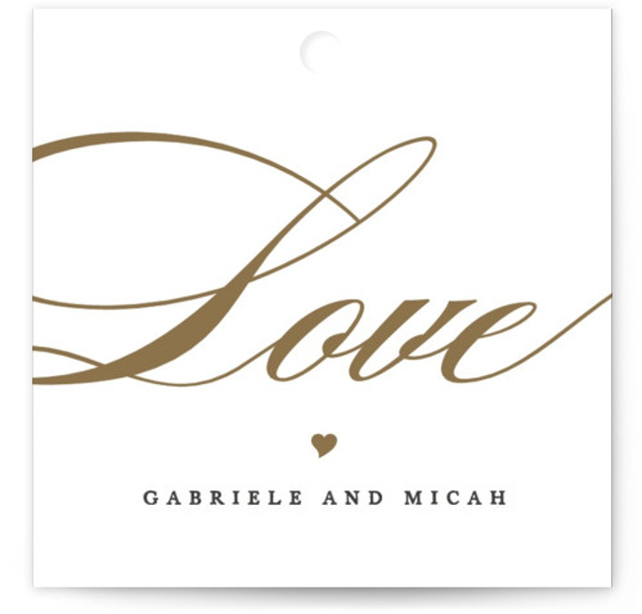 This is a square bold and typographic, classic and formal, white, grey, gold Wedding Favor Tags by Jennifer Postorino called Flourish with Standard printing on Signature in Tag Flat Card format. Add the perfect finishing touch to all of your ...