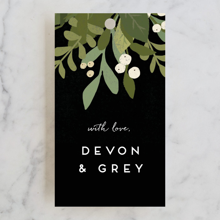 """Laurel of Greens"" - Floral & Botanical, Rustic Wedding Favor Tags in Midnight by Jennifer Wick."