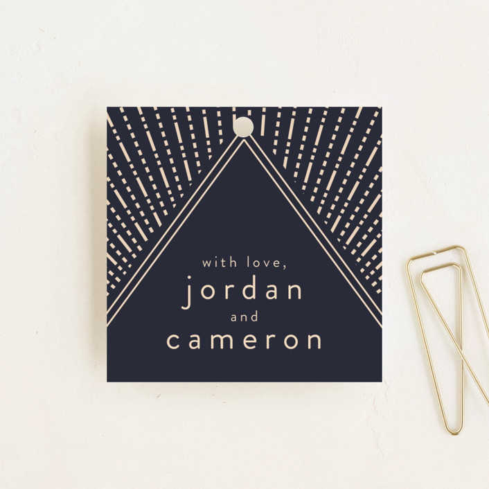 """""""Apache"""" - Wedding Favor Tags in Navy by Annie Montgomery."""