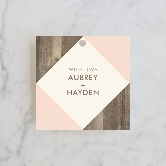 """Modern Barn Wood"" - Rustic Wedding Favor Tags in Rose by Johanna McShan."