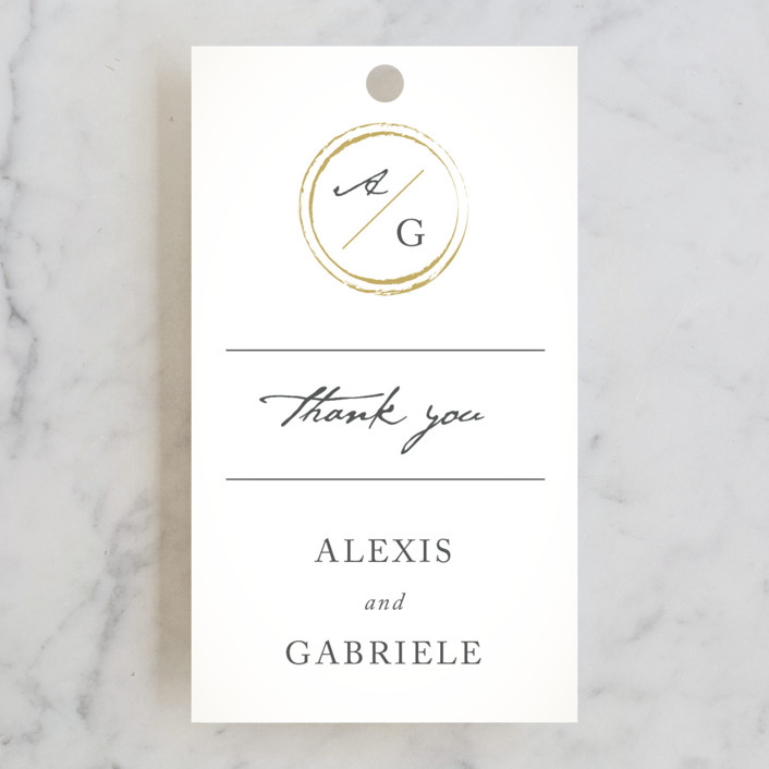 """""""Monogram Circle Stamp"""" - Wedding Favor Tags in Antique White by fatfatin."""