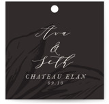 This is a black wedding favor tag by Melinda Denison called Forevermore with standard printing on signature in tag.