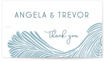 This is a blue wedding favor tag by raven erebus called Wailea Waves with standard printing on signature in tag.