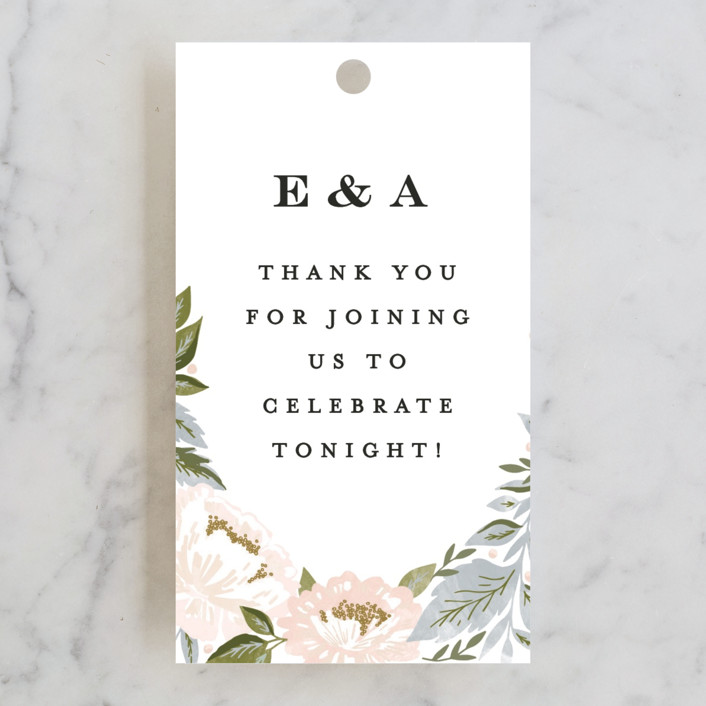 """Peony Floral Frame"" - Wedding Favor Tags in Cornflower by Alethea and Ruth."