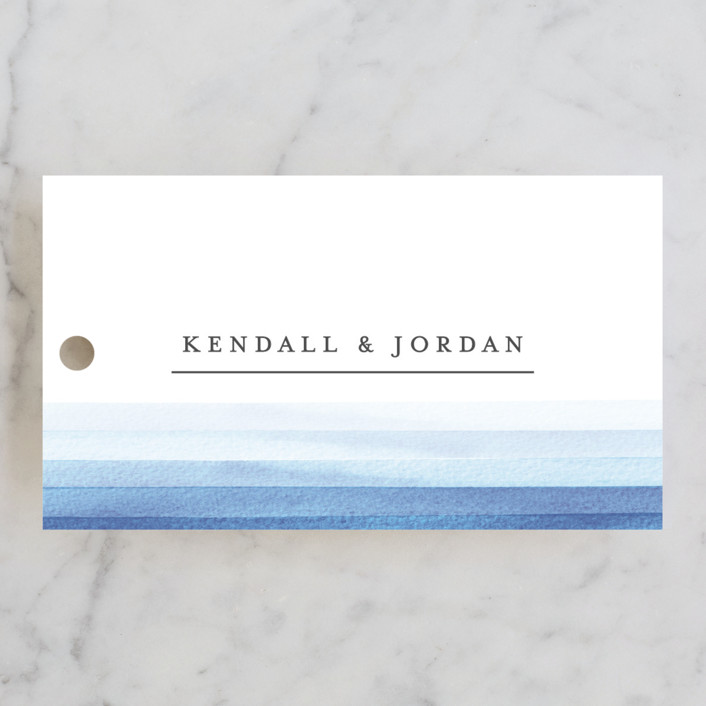"""Watercolour Stripe"" - Wedding Favor Tags in Azure by Bethan."