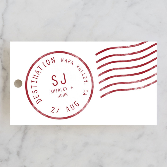 """A Faraway Destination"" - Destination, Whimsical & Funny Wedding Favor Tags in Deep Red by bumble ink."