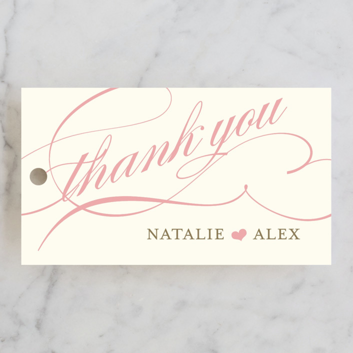 """Winter Flourish"" - Elegant, Formal Wedding Favor Tags in Petal Pink by annie clark."