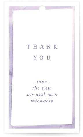 This is a colorful, purple, white Wedding Favor Tags by Baumbirdy called Watercolor Edged Border with Standard printing on Signature in Tag Flat Card format. Add the perfect finishing touch to all of your wedding gifts with these chic and ...