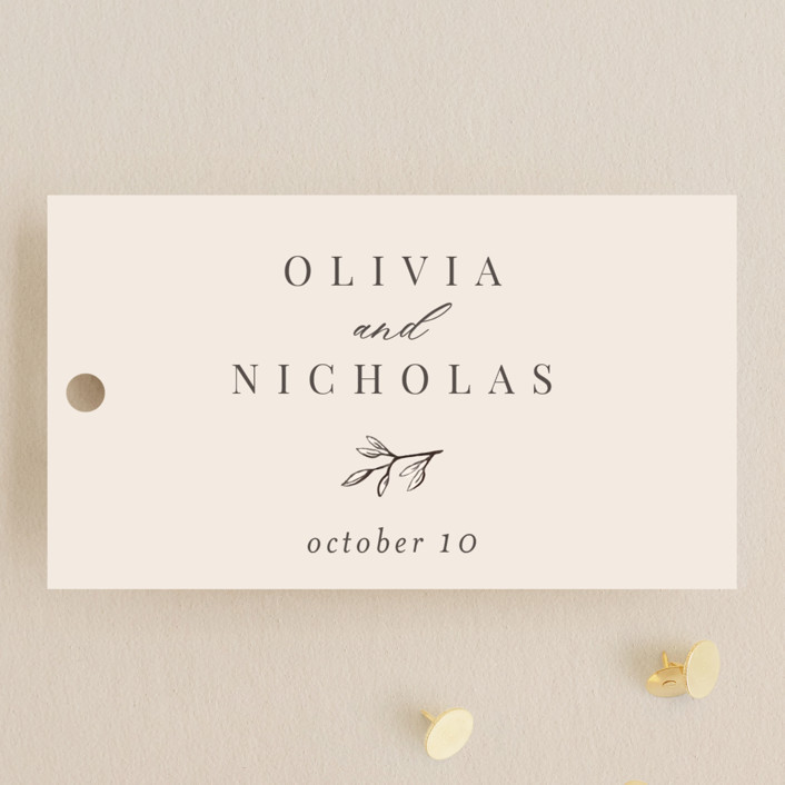 """""""Leafy Branch"""" - Wedding Favor Tags in Latte by Katherine Moynagh."""