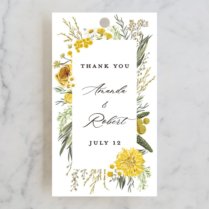 """""""Organic Florals"""" - Wedding Favor Tags in Honey by Susan Moyal."""