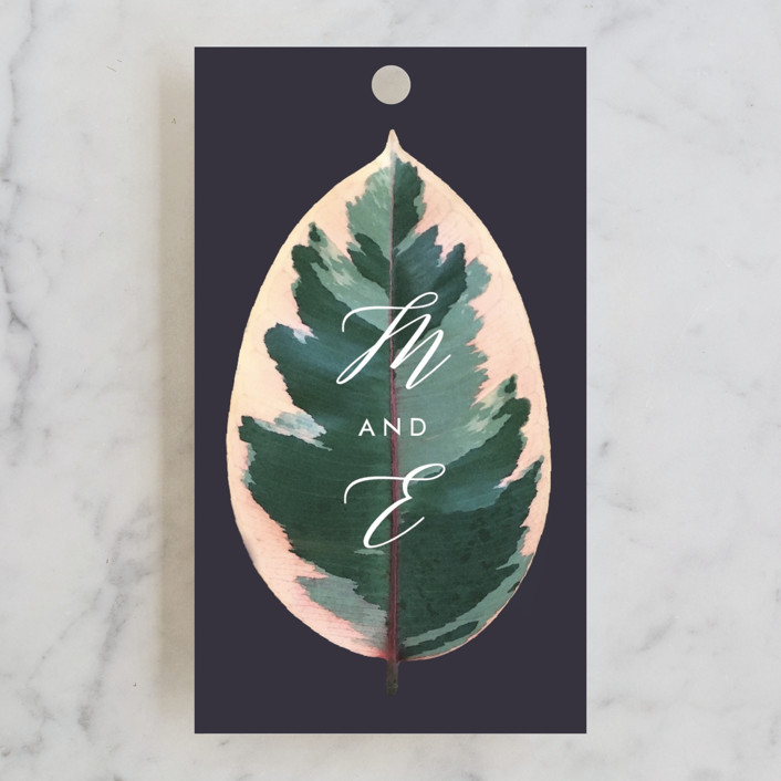 """""""Painterly Plant"""" - Wedding Favor Tags in Midnight by Hooray Creative."""