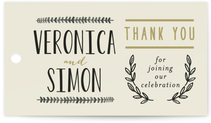 This is a landscape bold typographic, rustic, beige Wedding Favor Tags by Alethea and Ruth called Organic Elegance with Standard printing on Signature in Tag Flat Card format. Add the perfect finishing touch to all of your wedding gifts with ...