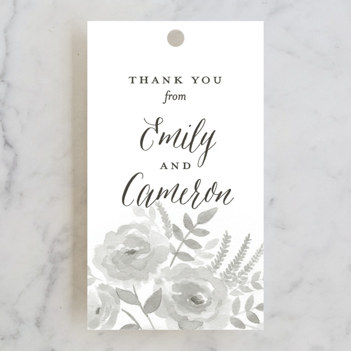 """Watercolor Floral"" - Floral & Botanical Wedding Favor Tags in Fog by Jill Means."