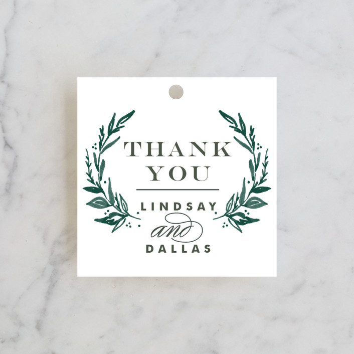 """""""Elegant Crest"""" - Wedding Favor Tags in Forest Green by Alethea and Ruth."""