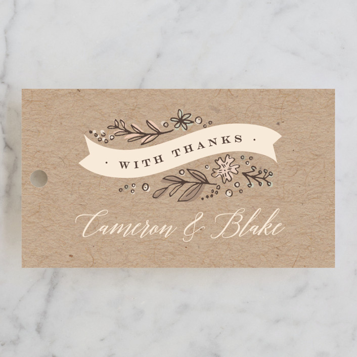 """Rustic Banner"" - Floral & Botanical, Rustic Wedding Favor Tags in Kraft by Jennifer Wick."
