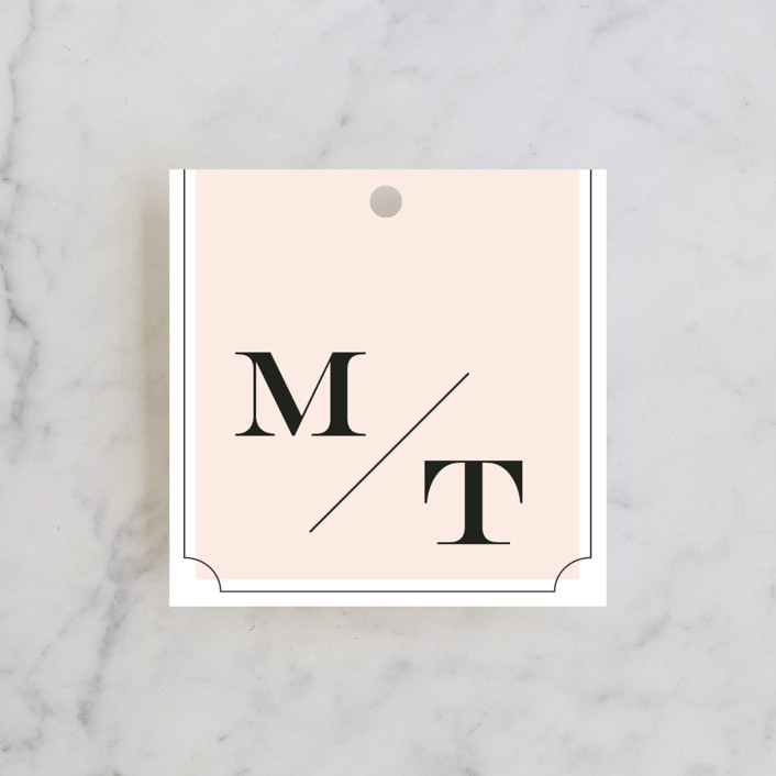 """""""Nobility"""" - Modern, Preppy Wedding Favor Tags in Blush by Alston Wise."""