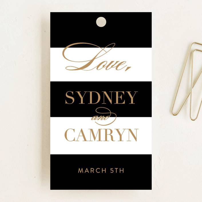 """Fashion District"" - Wedding Favor Tags in Black Tie by Jill Means."