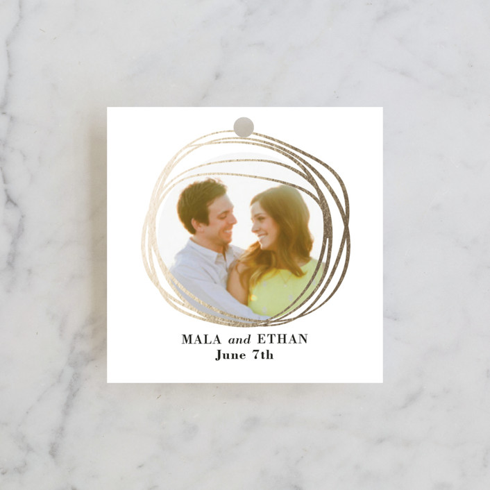 """""""The Big Day"""" - Modern, Abstract Wedding Favor Tags in Golden by R studio."""