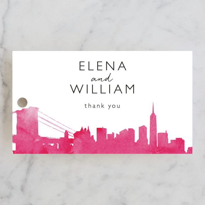 """Skyline - New York"" - Hand Drawn Wedding Favor Tags in Magenta by Laura Condouris."