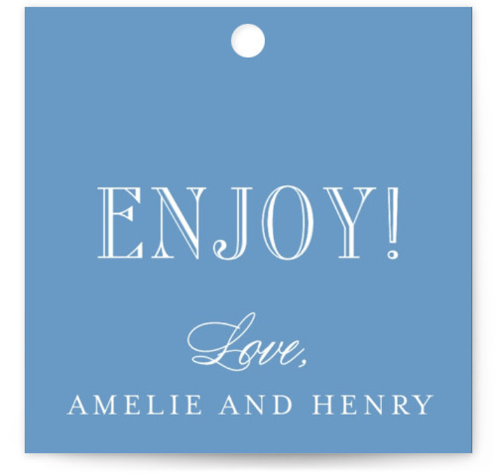 This is a square bold and typographic, preppy, blue Wedding Favor Tags by Toast & Laurel called Hepburn with Standard printing on Signature in Tag Flat Card format. Add the perfect finishing touch to all of your wedding gifts with ...