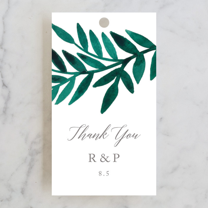 """""""Painted Greenery"""" - Wedding Favor Tags in Evergreen by Katharine Watson."""