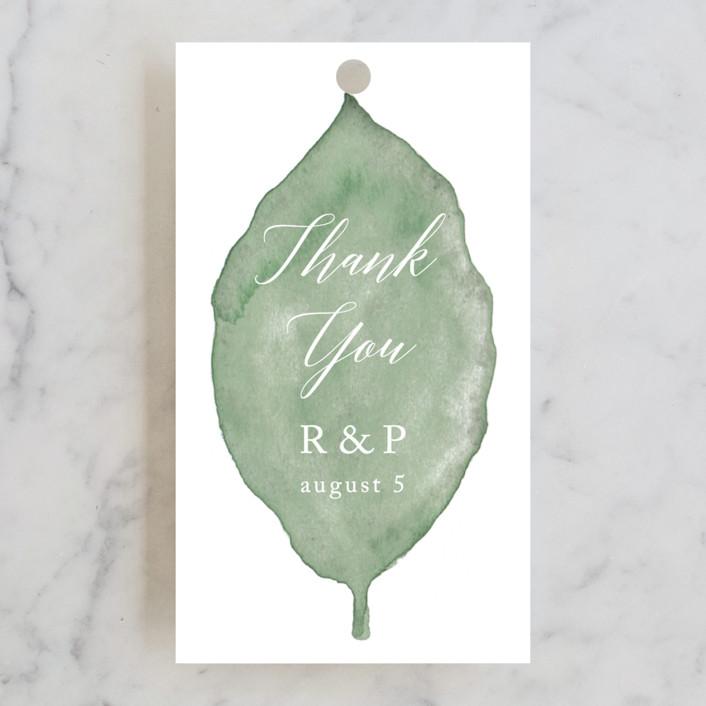 """Painted Leaf"" - Wedding Favor Tags in Leaf by Katharine Watson."