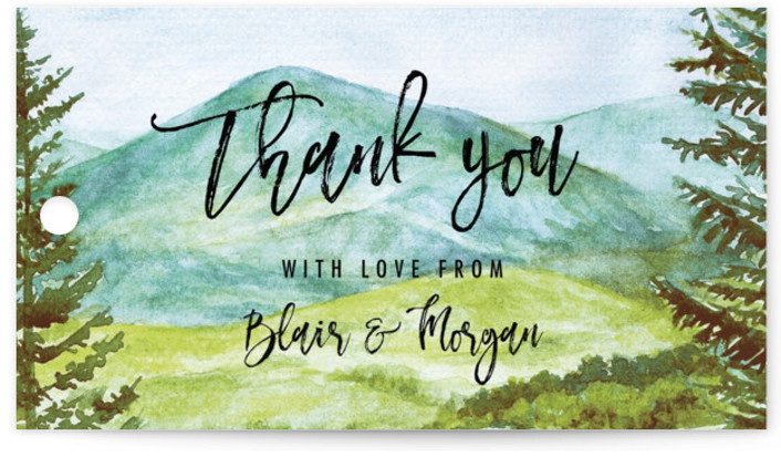This is a botanical, illustrative, painterly, rustic, green Wedding Favor Tags by Elly called Into the Woods with Standard printing on Signature in Tag Flat Card format. Add the perfect finishing touch to all of your wedding gifts with these ...