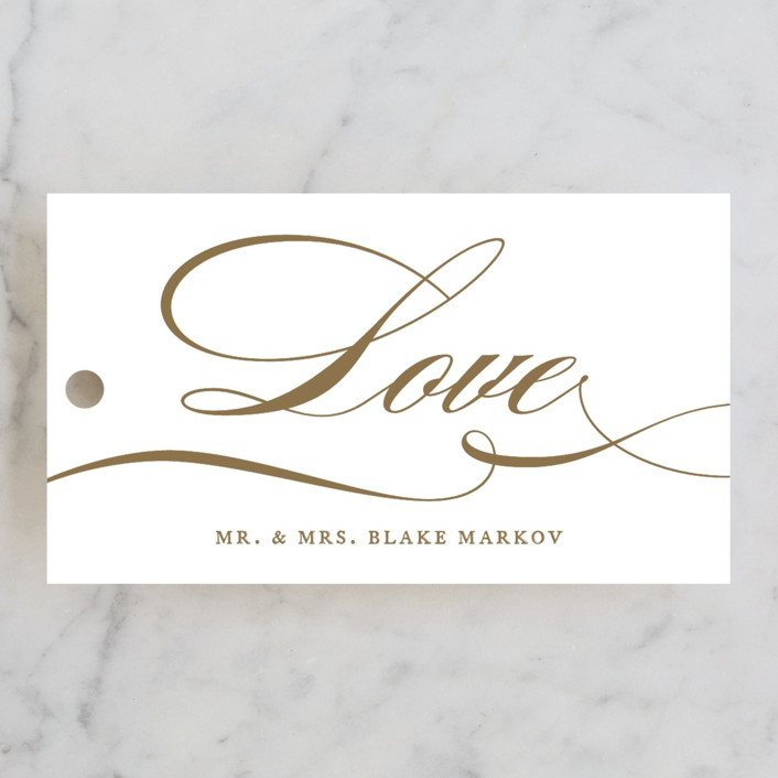 """divine"" - Wedding Favor Tags in Gilded Gold by Jennifer Postorino."