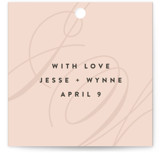 This is a pink wedding favor tag by Ariel Rutland called Twirl Monogram A with standard printing on signature in tag.