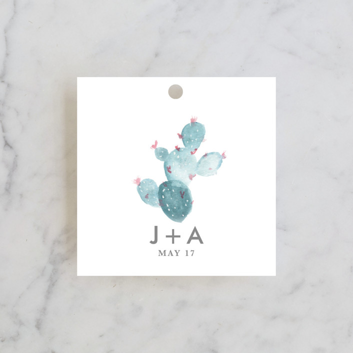 """simple cactus watercolor"" - Wedding Favor Tags in Periwinkle by Ashley Purser."