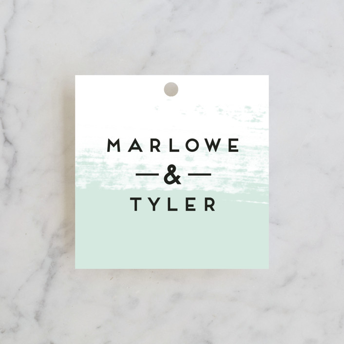 """Museum quality"" - Wedding Favor Tags in Teal by Jennifer Wick."