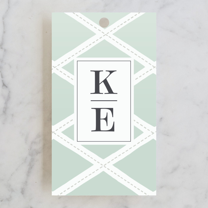 """""""Bold Lattice"""" - Wedding Favor Tags in Mint by Griffinbell Paper Co.."""