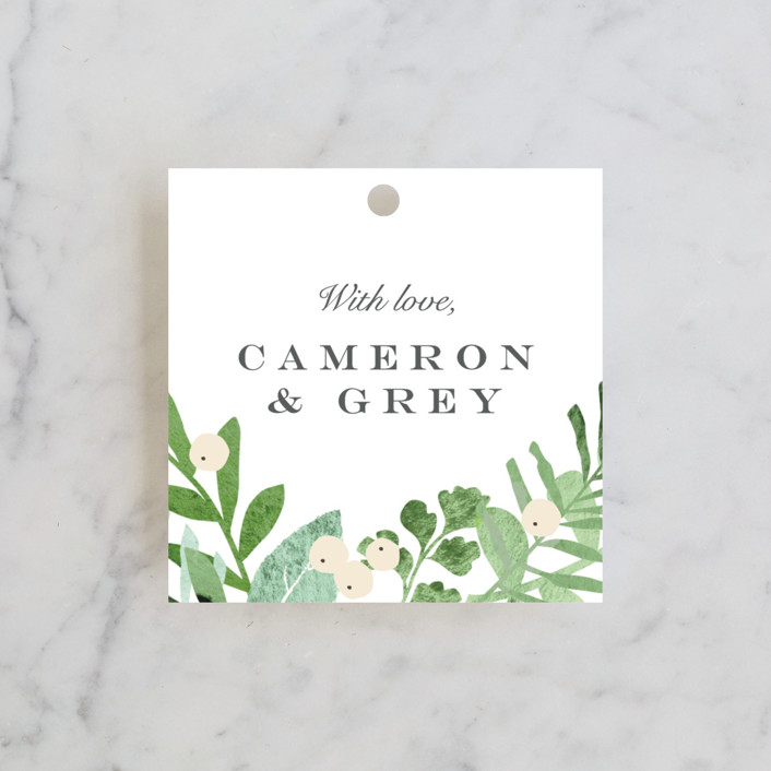 """Leafy ampersand"" - Wedding Favor Tags in Mint Leaf by Jennifer Wick."