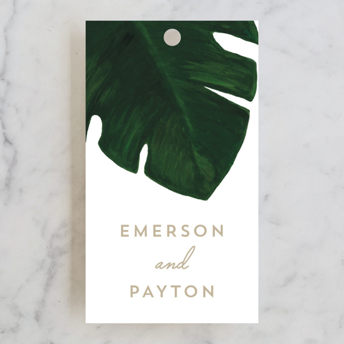 """Palm"" - Wedding Favor Tags in Classic Palm by Kaydi Bishop."