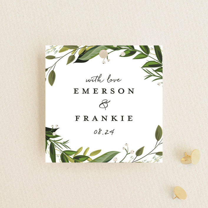 """Vines of Green"" - Wedding Favor Tags in Fern by Susan Moyal."