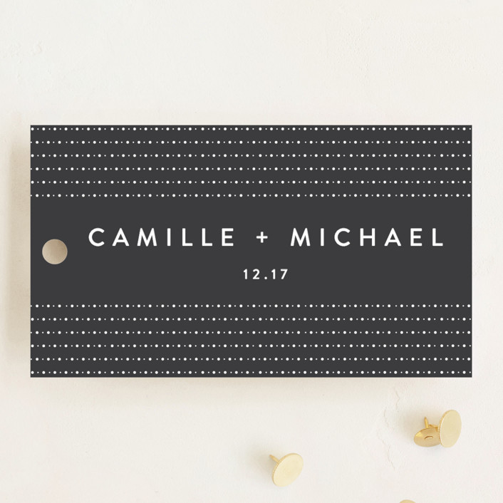 """Modern Glam"" - Wedding Favor Tags in Soft Black by Robinson Paperie."
