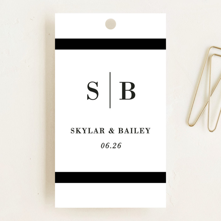 """Classic Monogram"" - Wedding Favor Tags in Ivory by Stacey Meacham."