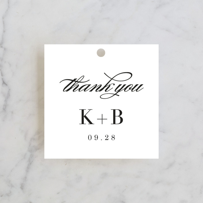 """Elegant Initials"" - Wedding Favor Tags in Ivory by Kelly Schmidt."